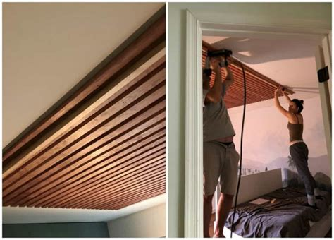 Wood Slat Ceiling Diy Drop